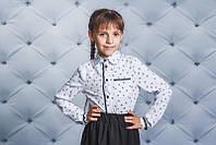 Школьная, нарядная, модная рубашка для девочки с гипюром цвет белый рост - 122, 128, 134, 140, 146, 152