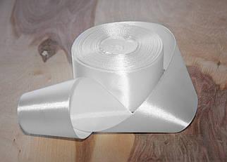 Атласная лента белая 4 см, 33м