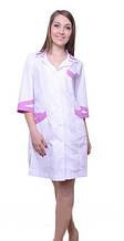 Медицинский женский халат с цветными вставками 42, белый/розовый