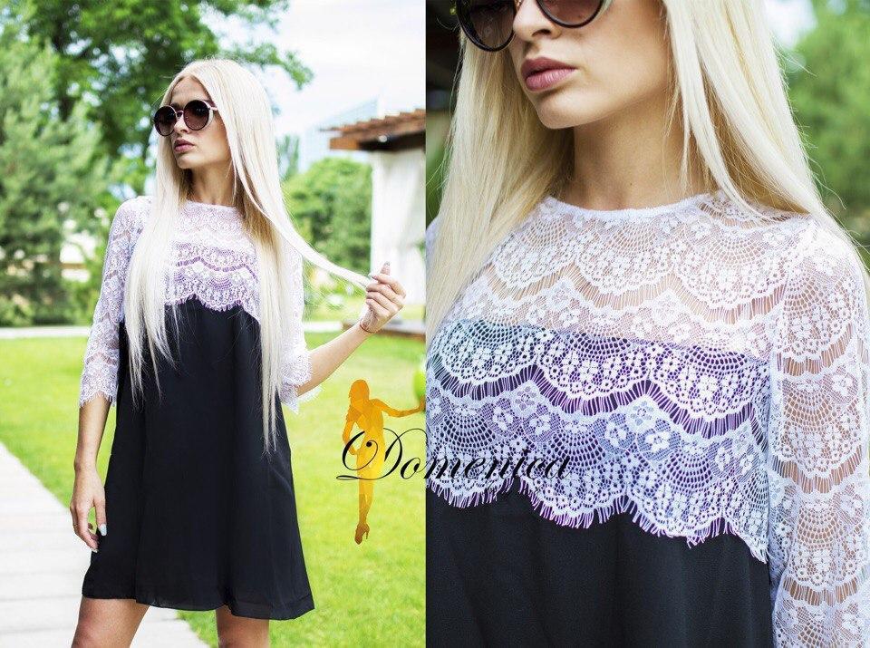 Нежное летнее платье из шифона верх из кружева