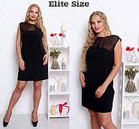 """Платье женское модное с прозрачной вставкой """"Элит"""" большие размеры 4 цвета BTor29"""
