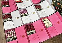 Складная коробка для букета (цвета: красн;бел;малиновый)
