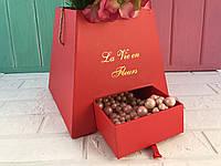 """Коробочка для цветов с выдвижным ящечком  """"Трапеция"""" красная"""
