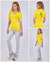 Женская футболка с V - образным вырезом (мысик), авторский принт - лотос