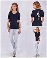 Женская футболка с V - образным вырезом (мысик), авторский принт - лотос, фото 1