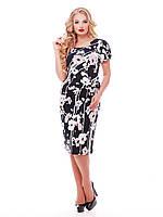 Летнее платье для полных женщин Венера цветы пудра