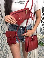 Набор женский 4 в 1: сумка + клатч + кошелек + визитница эко кожа