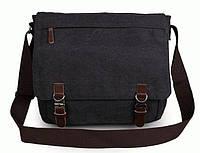 Практичная мужская сумка через плечо Tiding на 16 л. из натуральной кожи и высокопрочной ткани, черная 9027A.