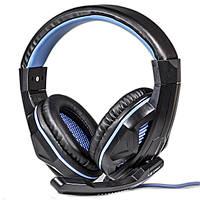 Гарнитура OVANN X2 PRO синяя игровая USB подсветкой джек 3,5мм музыкальная музыки смартфона компьютера ноутбук