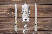 Свадебный набор свечей с бежевым декором