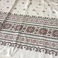Ткань рогожка с украинским орнаментом с имитацией вышивки крестиком, ширина 150 см, фото 1