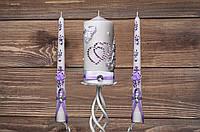 Свадебный набор свечей с сиреневым декором