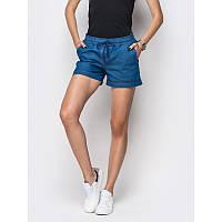 Шорты с косыми карманами джинс  голубой ЛЕТО, фото 1