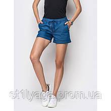Шорти з косими кишенями джинс синій, темно-синій ЛІТО