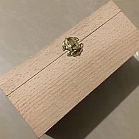 Шкатулка-заготовка из дерева. Куфр. 21х11см. С замком и петельками.