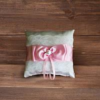 Свадебная подушечка для колец с кружевом с розой лентой