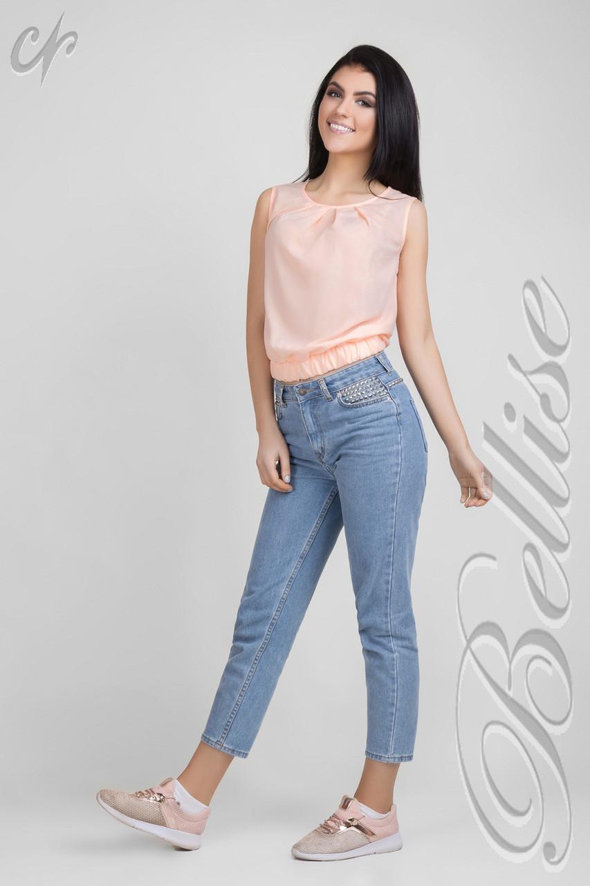 Молодёжная  летняя блуза из матового шифона, цвет персик