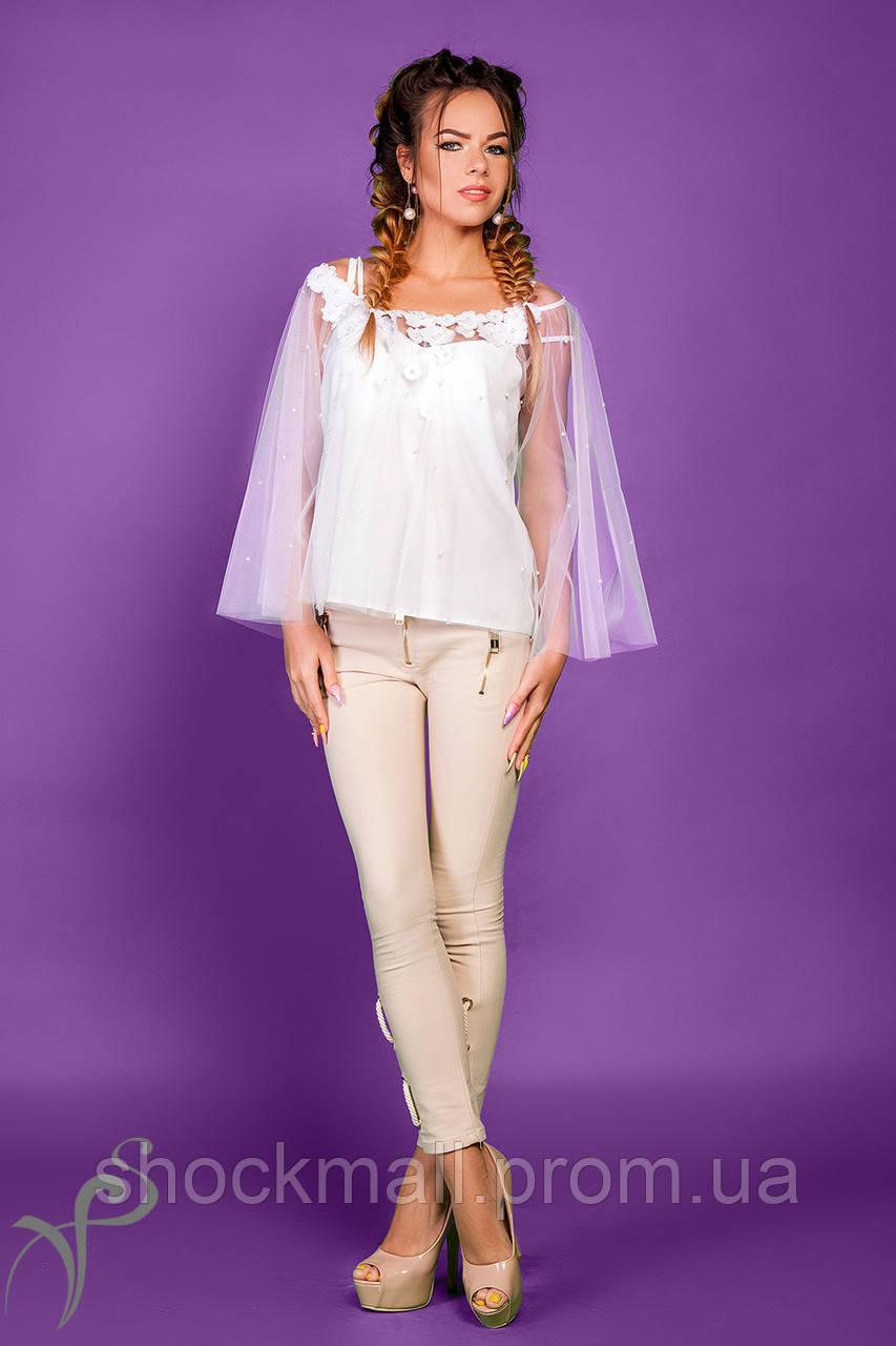 877882e51e8c Блуза белая из фатина Flowers, цена 492 грн., купить в Киеве — Prom ...