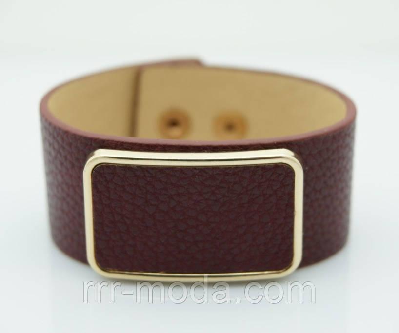 Бордовый браслет напульсник. Браслеты кожаные для женщин оптом 1149