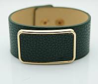 Зеленый кожаный браслет напульсник. Браслеты кожаные для женщин оптом 1150