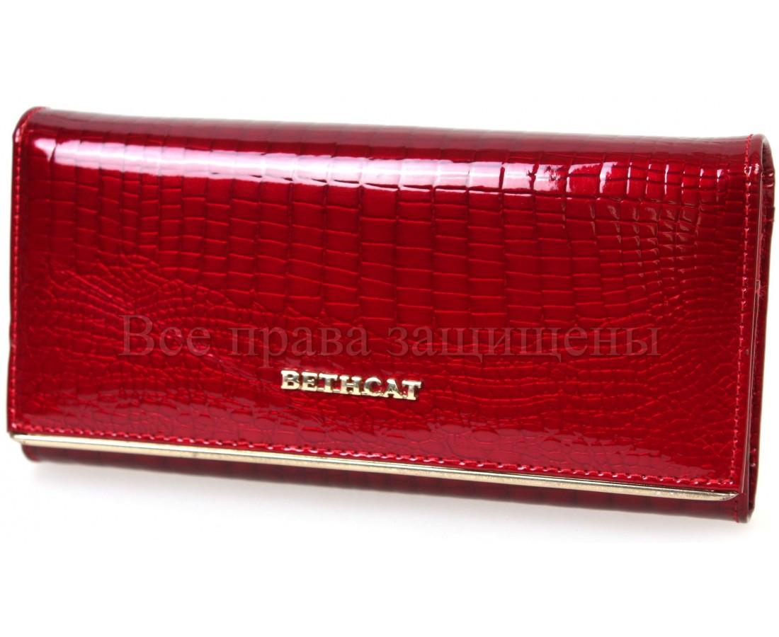 Оригинальный женский кошелек из натуральной лакированной кожи в красном цвете BETH CAT (30071)
