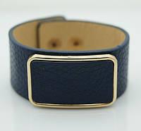 Синий кожаный браслет напульсник. Браслеты кожаные для женщин оптом 1153