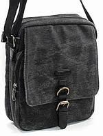 Удобная мужская кожаная сумка Katana на 4 л. из высокопрочной ткани и натуральной кожи, темно-серая k6586-1.