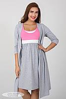 a3fef0616571854 Комплект для беременных и кормящих (халат+ночная сорочка), серый+розовый