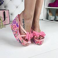 Женские шлепанцы Juicy Couture, танкетка 11 см, резина, розовые / шлепки женские Джуси Кутюр, удобные