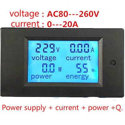Энергометр, Ваттметр, Амперметр, вольтметр PZEM-021 LCD AC 80V-260V / 20A