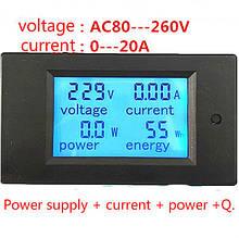 Энергометр, Ватметр, Амперметр, вольтметр PZEM-021 LCD AC 80V-260V / 20A
