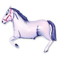 Гелиевый фольгированный шар - лошадка (белая). Гелиевые шары Киев, гелиевые фигуры. Шары Троещина.