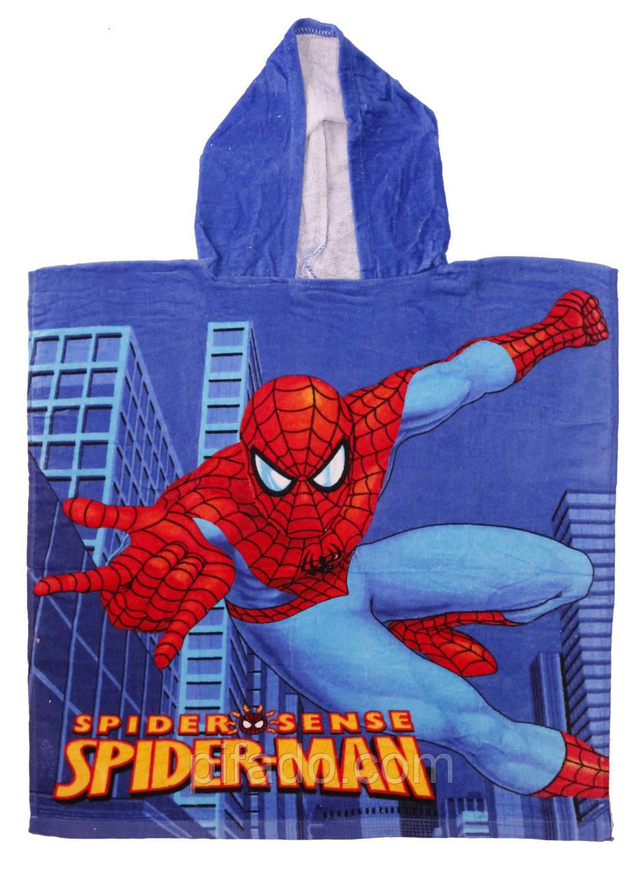 Пончо детское Человек-паук (велюр-махра) 65х60.