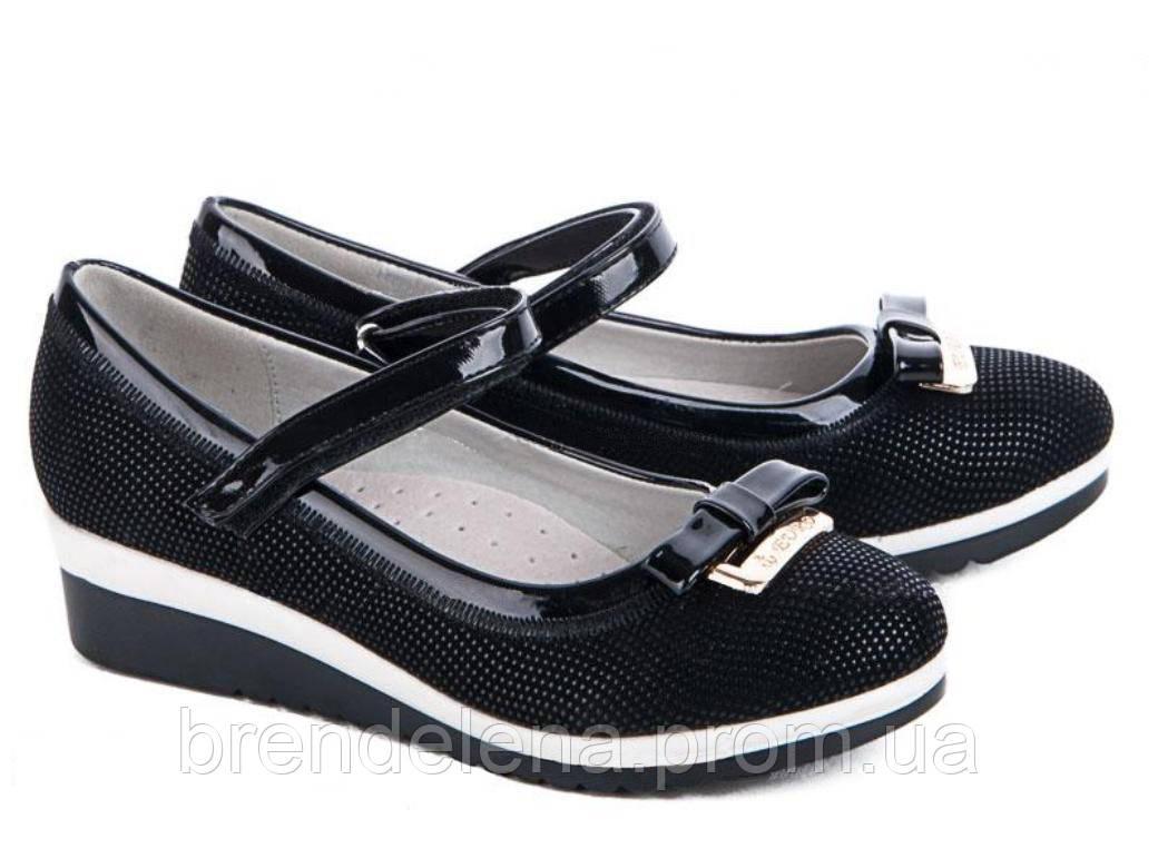 Стильные черные туфли для девочки р( 33-34)