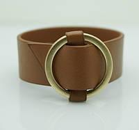 Коричневые женские браслеты напульсники из кожи. Модные кожаные браслеты оптом 1159