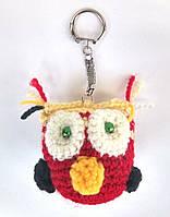 Вязаная игрушка сова красная брелок
