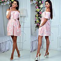 Женское летнее платье спадающие с плеч цветы