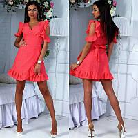 Женское летнее батистовое платье прошва с запахом с вырезами на плечах    +цвета