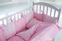 Детское постельное белье с бортиками для девочки Розовые горошинки/розовые точки