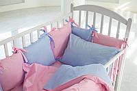 Детское постельное белье  для девочки в розово-голубые горошинки