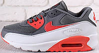Мужские кроссовки Nike Air Max 90 Grey/Red/White, кожа/текстиль, от магазина tehnolyuks.prom.ua 099-4196944