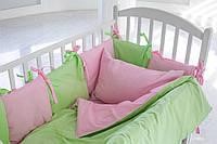 Детское постельное белье для девочки в розово-салатные горошинки