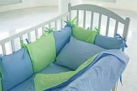 Детское постельное белье для мальчика в салатно-голубые горошинки