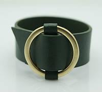 Браслет напульсник, зелёные женские браслеты из кожи. Модные кожаные браслеты оптом 1163