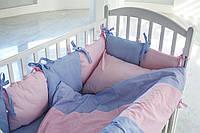 Детское постельное белье для девочки КАЛЕЙДОСКОП в розово-синие точки
