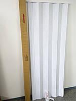 Дверь ширма гармошка, 610 белый ясень , 820х2030х0,6 мм, раздвижные межкомнатные пластиковые глухие