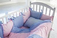 Набор постельного белья с бортиками для девочки КАЛЕЙДОСКОП в розово-синие точки