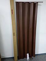 Дверь ширма гармошка, 7036 дуб темный, 820х2030х0,6 мм, раздвижные межкомнатные пластиковые глухие