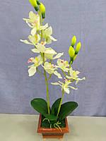 Вазон  орхидеи  искусственной белой в керамическом вазончике