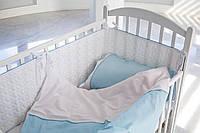 Детское постельное белье  с кружевом , САТИН 100%, голубой